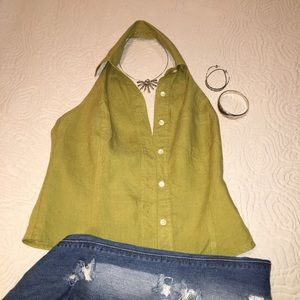 Ann Taylor button up halter top, green linen, 2